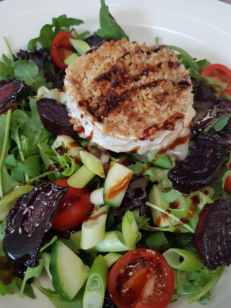 Walnut crusted goats cheese with roasted beetroot